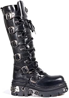 New Rock Newrock 272 Metallic Black Goth Knee HIGH Zip Leather Buckle Boots