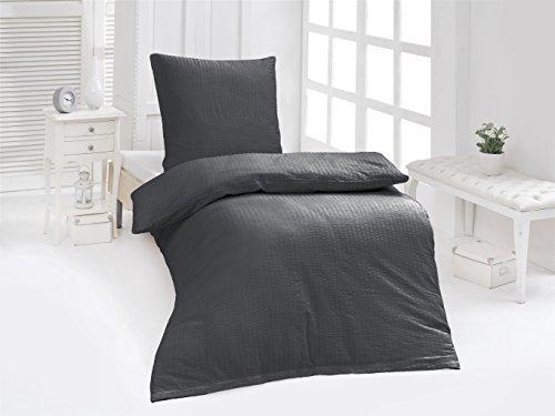 4-Teilige hochwertige Seersucker-Bettwäsche UNI in Anthrazit GRATIS 1x SCHAL, 2x 135x200 Bettbezug + 2x 80x80 Kissenbezug , 100% Baumwolle