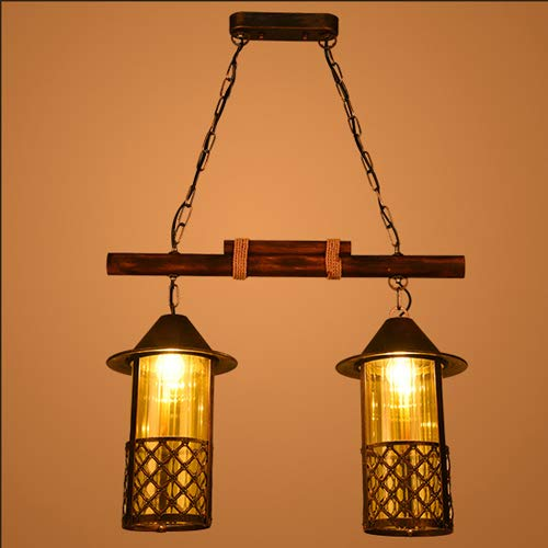 Crayom Lámpara colgante de madera maciza retro americana de 2 luces, iluminación colgante de hierro forjado, lámparas colgantes de metal con pantalla de vidrio lámpara colgante decoración interior E27