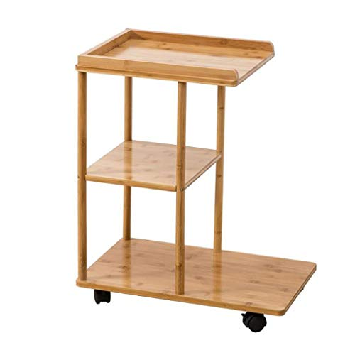 Sofa Side Snack Table End Table C-shaped 3 Tier Bamboo Coffee Table, Simple Movable Living Room Storage Couch Table, Household Reading Table with Wheels Living Room Furniture