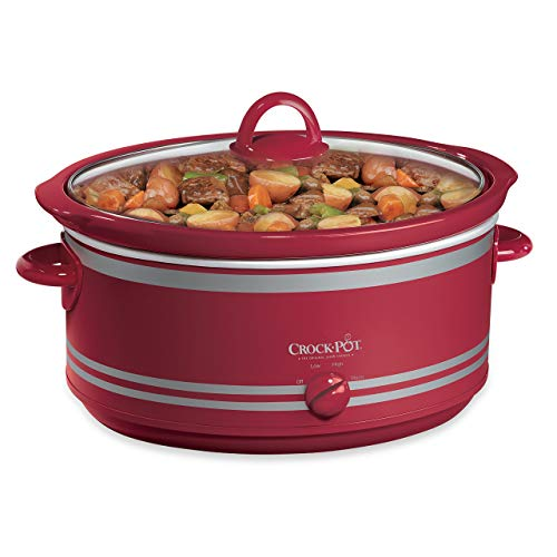 Crock-Pot B002IEOGYC SCV702 7-Quart Manual Slow Cooker with Travel Bag, Red (Renewed)