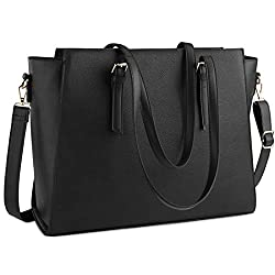 Túi xách nữ Laptop Bag for Women 15.6 Inch Waterproof Laptop Tote Bag Large Leather Computer Briefcase Womens Business Professional Office Work Bag Lightweight Shoulder Handbag,Black (Amazon)