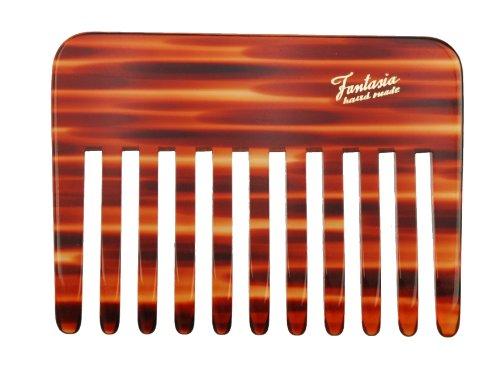 Fantasia Styling Kamm, Schweizer Premium Qualität, grober Haarkamm im Havanna Design, vegan und Handarbeit, 9,5cm