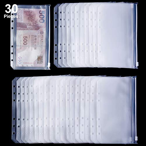 Binder Pocket 6 Holes Loose Leaf Bags A6 Size Binder Zipper Folders Plastic File Document Bags for Home Office School Supplies (30)