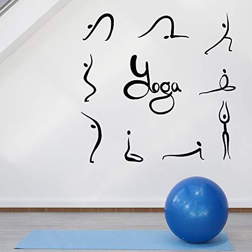 Blrpbc Adhesivos Pared Pegatinas de Pared Conjunto de Vinilo de Pose de Yoga para Gimnasio, decoración de Estudio de Yoga, Carteles Abstractos de Fitness extraíbles para niñas 76x77cm