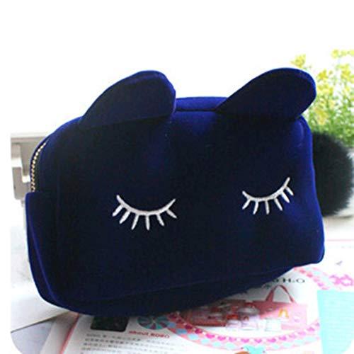 Sac à cosmétiques grande capacité Cartoon Cat Velvet couleur unie Make Up Bag Sac de rangement pour pièce de monnaie portable Sac à main pour toilette de voyage - Bleu royal