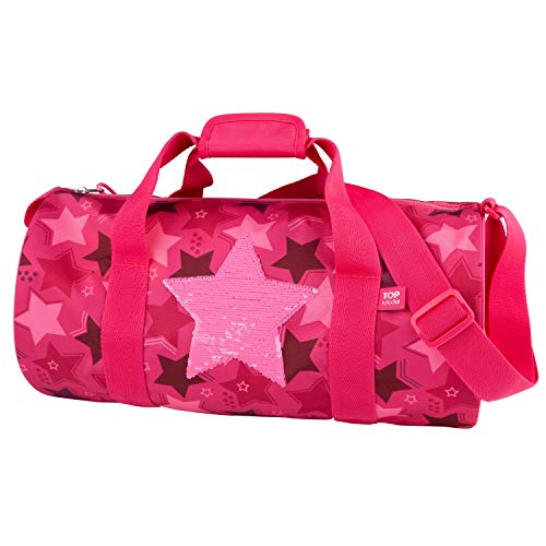 Depesche 10720 Sporttasche, TOPModel Stern aus Streichpailletten, pink, ca. 21 x 42 x 21 cm