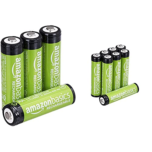 Amazon Basics AA-Batterien, wiederaufladbar, vorgeladen, 4 Stück (Aussehen kann variieren) & AAA-Batterien, wiederaufladbar, vorgeladen, 8 Stück (Aussehen kann variieren)
