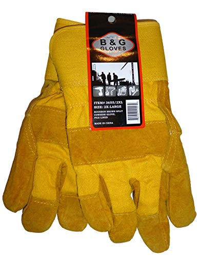 Mens B&G Heavy Work Insulated Fleece Pile Lined Leather Winter Gloves XXL 2XL, Gold on Gold Color