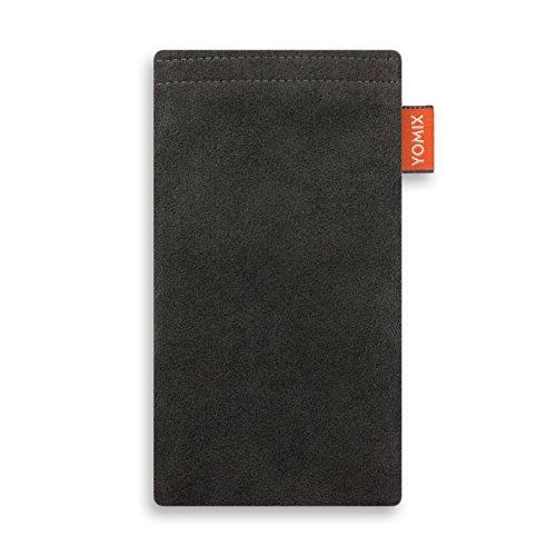 YOMIX Hugo Grau mit Strahlenschutz Handytasche Tasche für Asus ZenFone 2 Deluxe aus Alcantara® mit Microfaserinnenfutter | Hülle mit Reinigungsfunktion | Made in Germany