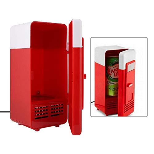 Mini nevera, nevera para coche, PC, USB, nevera de escritorio, refrigerador compacto, refrigerador portátil, nevera pequeña, bebida, bebida, enfriador, calentador(rojo)