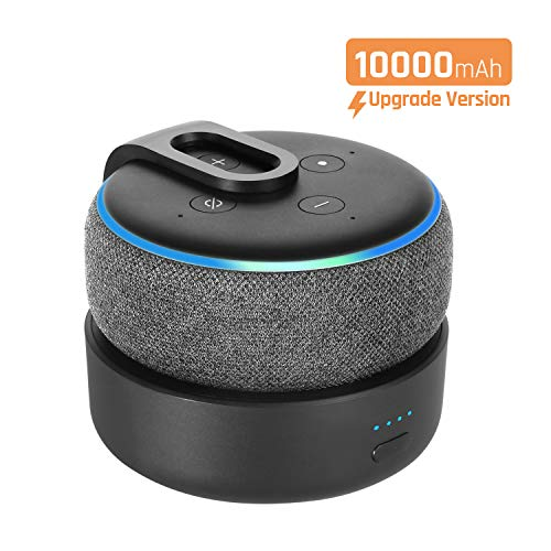Tragbare Ladestation für Dot (3.Gen.), GGMM D3+ 10000mAn Powerbank & Batterie Akku für Smart Lautsprecher, 16 Stunden Akkulaufzeit, Schwarz (Dot 3 Nicht enthalten)