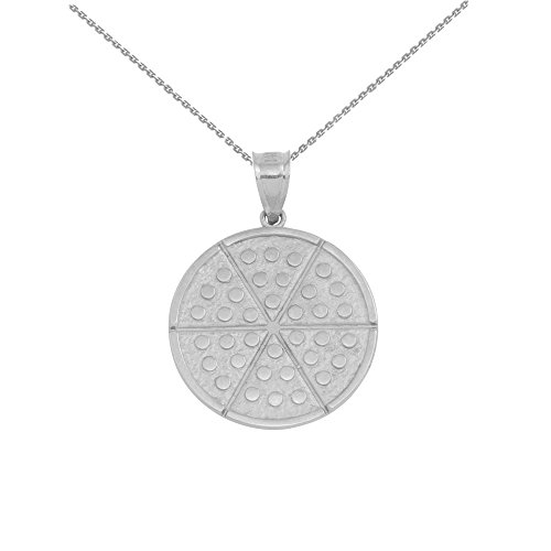 14 ct White Gold Six Slice Pizza Circle Pendant Necklace (Comes with an 18' Chain)