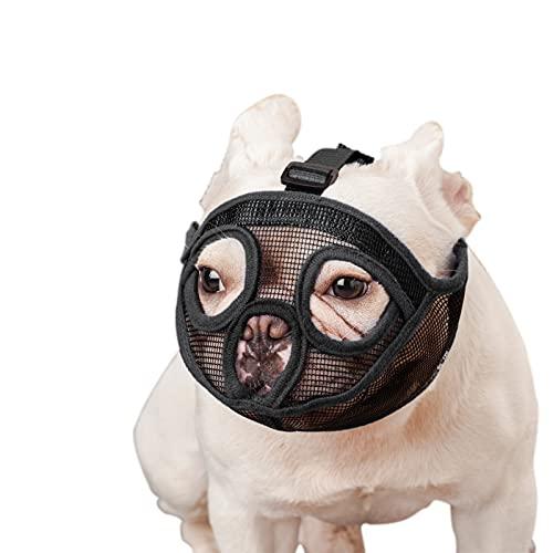 wintchuk Short Snout Dog Muzzle Bulldog Muzzle, Stop Dog for Biting Barking Chewing, Adjustable(L,Black)