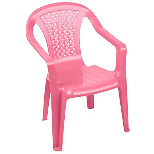 Wadiga Chaise de Jardin pour Enfant Plastique Rose Empilable