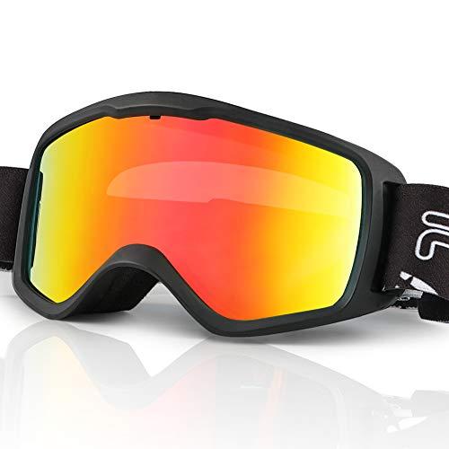 JTENG Skibrille für Kinder, Snowboard Brille Doppel-Objektiv OTG UV400 Anti-Fog Skibrille für Skifahren und Bergsteigen (Schwarz)