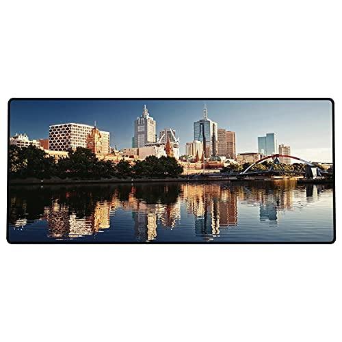 Alfombrilla de ratón para Juegos 600 x 300x3 mm,Ciudad, Vista idílica del río Yarra Melbourne Australia Arquitectura Turismo, Azul Oscuro, Marfil Base de Goma Antideslizante, Adecuada para Jug