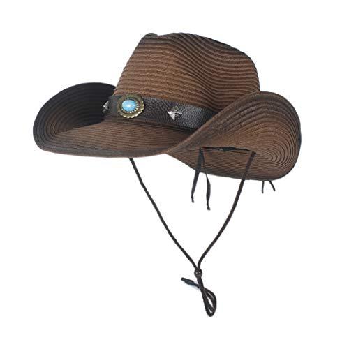 MADONG Western Cowboy Strew Sombreros de Verano de Paja Vaquera Traje de Fiesta Que Prensa Western Hat Sombrero Hombre Vaquero Sombreros for Hombres (Color : Café, tamaño : 56-58)