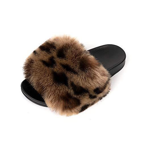 FUNKYMONKEY Damen Slides Faux Pelz Süße Flauschige Hausschuhe Komfort Flache Sandalen, (Dm-b/Leopard), 39 EU