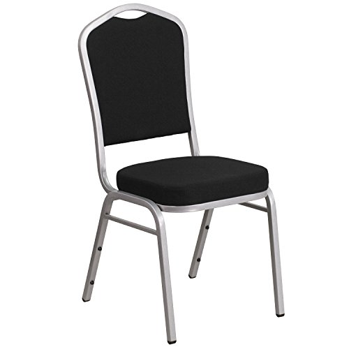 Flash Furniture HERCULES Series Crown Back Stacking Banquet Chair in Black Fabric - Silver Frame