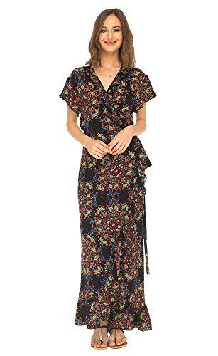SHU-SHI, mujer - Vestido largo cruzado con cuello en V floral Manga corta Maxi Boho Vestido de tirantes Negro