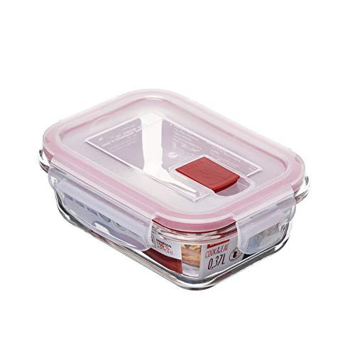 Tatay Fiambrebra de Alimentos, Vidrio, Hermética, 0.37L de Capacidad, Tapa de Clip, Libre de BPA, Apto Microondas, Horno, Congelador y Lavavajillas, Color Rojo. Medidas 11.2 x 15.2 x 5.7 cm