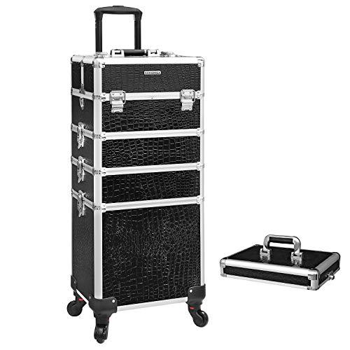 Songmics Alu trolley, cosmeticakoffer met wieltjes, kapperskoffer, make-up koffer zonder inhoud, handbagage, beauty case, 4 in 1, XXL, zwart JHZ06B