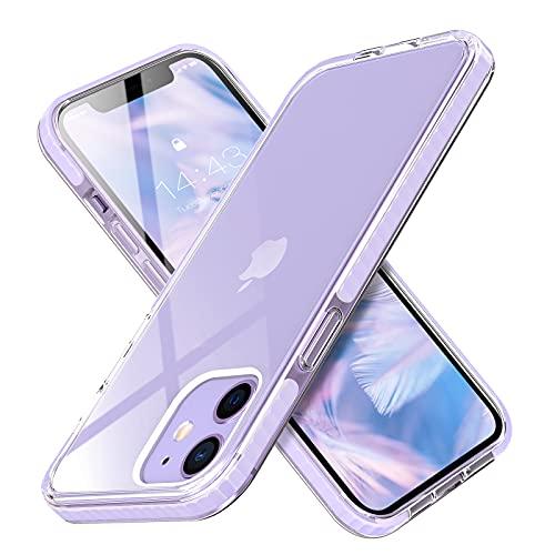 MATEPROX Ultra Sottile Cover per iPhone 12 Pro iPhone 12 Custodia, Chiaro duro PC, TPE Protettiva Bumper Antiurto Cover Custodia per iPhone 12 Pro iPhone 12 6.1 -Viola