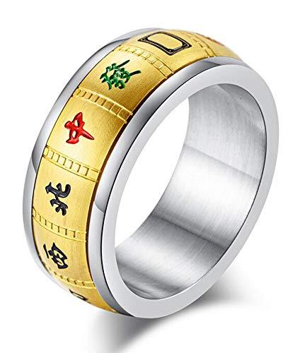 8mm Titanium Steel Mahjong Ring Good Luck Rings for Men and Women (Gold1, 6)