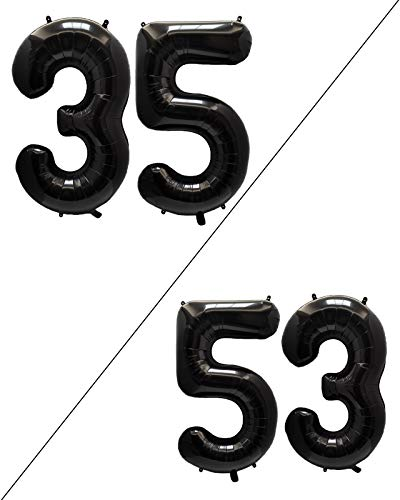 AULE 40 Inch Large 35 Balloon Numbers Black, Big Foil Number Balloons, Giant Helium Happy 35th Birthday Party Decorations for Man and Women, Huge Mylar Anniversary Party Supplies
