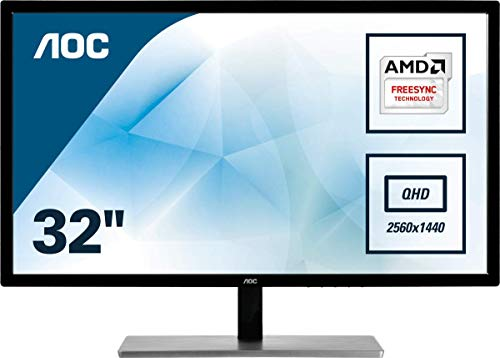 AOC Q3279VWF 80 cm (31,5 Zoll) Quad HD Computerbildschirme (MVA Panel, 2560 x 1440 Pixel, Quad HD, 5 ms, 250 cd/m², Schwarz, Silber)