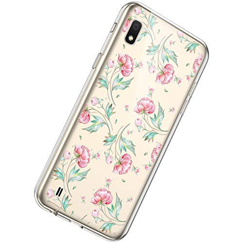 Herbests Kompatibel mit Samsung Galaxy A10 Handyhülle Transparent Weiche Silikon Durchsichtig Schutzhülle Bunt Blumen Muster Crystal Clear Hülle TPU Rückschale Case Cover Tasche,Blumen #11