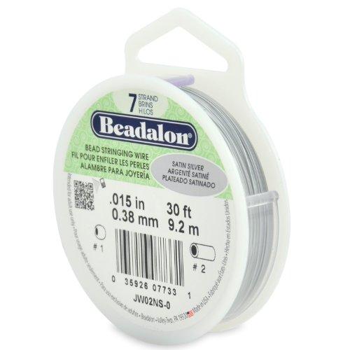 Beadalon Fil Cordage 7-Strand .015-inch x 30 '-Satin Argenté, d'autres, Multicolore