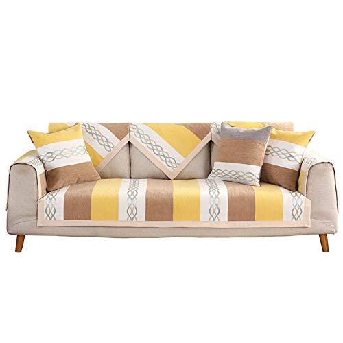 Jklt Práctica funda para sofá de cuatro estaciones de tela con rayas para sofá antideslizante para mascotas, regalo para niños y perros (color: gris, tamaño: 110 x 240 cm)