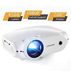 "【Cinema Like Home Theater Projector】Crenova XPE500 mini projector supports 1080P Full HD video with native 720P resolution (1280 x720), authentic 4500-lumen brightness and 3000:1 contrast ratio. 33""~200"" movie projector screen size and 3.7~19.7ft vie..."