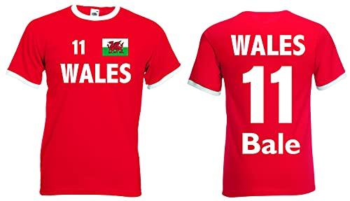 World-of-Shirt Herren Retro T-Shirt Wales EM 2016 Bale Nr.11|rot-XXL