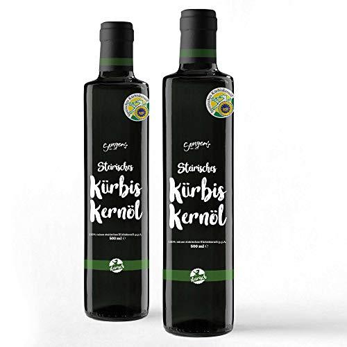 Steirisches Kürbiskernöl g.g.A. 100{6b22b5fa4fc4104b6aadbbcafba4065bb9ecb606938150d1ec3dd8bb9db66719} reines original Kernöl aus der Steiermark Premium (1000 ml)