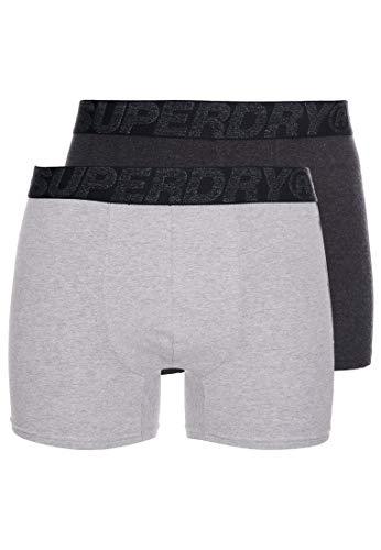 Superdry Herren Boxershorts aus Bio-Baumwolle im 2er-Pack Dunkel Meliertes Multipack XL