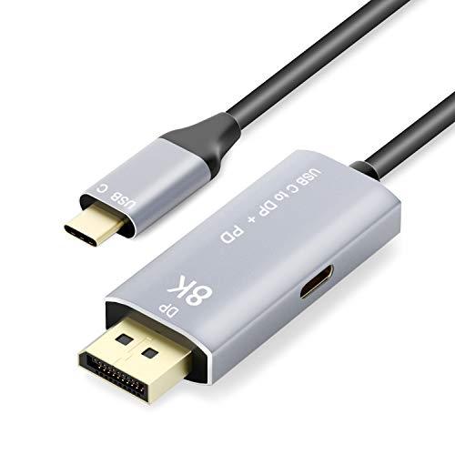 YIWENTEC Cable USB C a DisplayPort 1.4 8K con USB-C PD 8K a 60Hz 4K a 144Hz Convertidor Thunderbolt 3 a DisplayPort Adaptador 2M