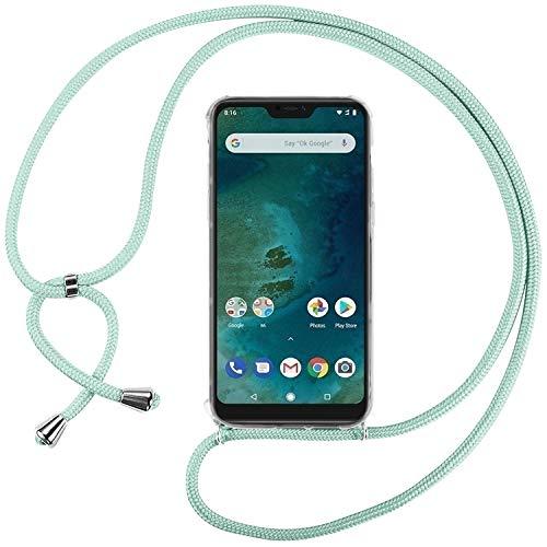 Ingen Funda con Cuerda para Xiaomi Mi A2 Lite - Carcasa Transparente TPU Suave Silicona Case con Colgante - Verde