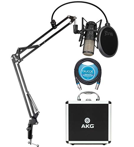 AKG P220 Cardioid Condenser Microphone for Vocals, Pianos, Horns, Woodwind and String Instruments Bundle with Blucoil 10-FT Balanced XLR Cable, and Boom Arm Plus Pop Filter (Condensor Instrument Mic)
