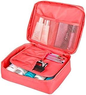 حقيبة لحفظ مستحضرات التجميل والنظافة الشخصية للسفر مع جيب للمنشفة او الثياب الداخلية لون زهري