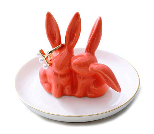 Vellarr Adorable Bunny Ring Holder Jewelry Tower Ceramic Dish Plate Jewel Display Organizer Trinket Tray, Lovely Rabbit (Coral)