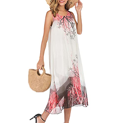 Vestido De Tirantes con Cuello Redondo Floral De Gasa Suelta Verano De Mujer