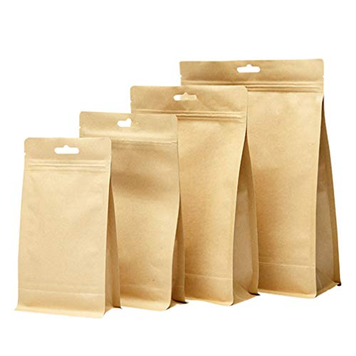 YARNOW 10 Piezas Kraft Bolsa de Pie Bolsa Zip Lock Sello Bolsa de Almacenamiento de Alimentos Resellable Café Té Snack Dulces Galletas Tuercas Contenedor para Negocios Domésticos 26 ×