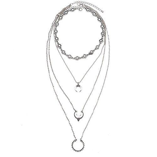 SODIAL Retro Estrella Tallada Luna Creciente de Multiples Capas Geometrica para Mujeres Borla Cadena Colgantes Collares joyeria