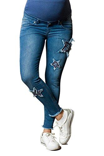 STAR Schwangerschaftshose mit aufgestickten Sternen | knöchellange Umstandsjeans mit ausgefranstem Saum | Umstandshose mit Überbauchbund | Super Skinny Schwangerschaftsjeans | Umstandsmode (Blau, 38)