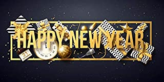 AOFOTO 6x3ft Happy New Year Backdrop Banner Clock Gifts Confetti Ornaments Adults Family Kids Portrait Photoshoot Photography Background Cloth Festival Christmas Party Decoration Photo Studio Props
