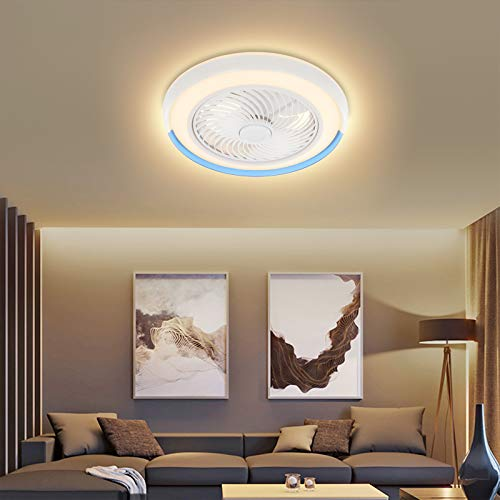 LED Modern Ceiling Fan with Light Remote Control Mute Adjustable 3-Wind...