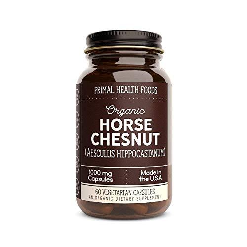 Primal Health Foods Organic Horse Chestnut - 60 Capsules 1,000 mg Per Capsule [Vegetarian, Organic, Non-GMO & Gluten Free]